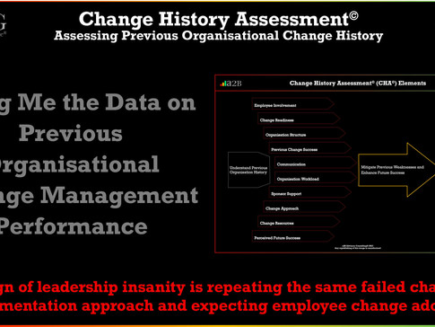 Change History Assessment© - Bring Me Data on Previous Organisational Change Management Performance