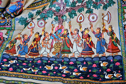 Beige Pattchitra hand painting Tussar silk