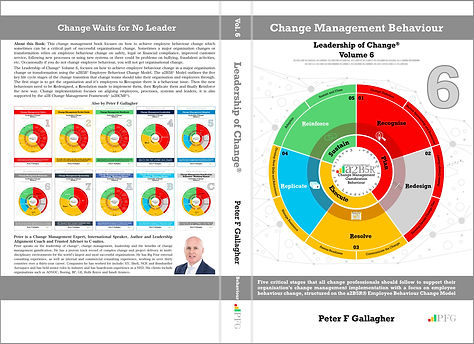 Change Management Behaviour - Leadership of Change® Volume 6, Change Management Book, Peter F Gallagher Change Management Expert, Five critical stages that all change professionals should follow to support their organisation's change management implementation with a focus on employee behaviour change, a2B Change Management Framework, Five critical tasks that all change professionals should follow to support their organisation's change management implementation with a focus on employee adoption, structured on the AUILM® Employee Change Adoption Model.