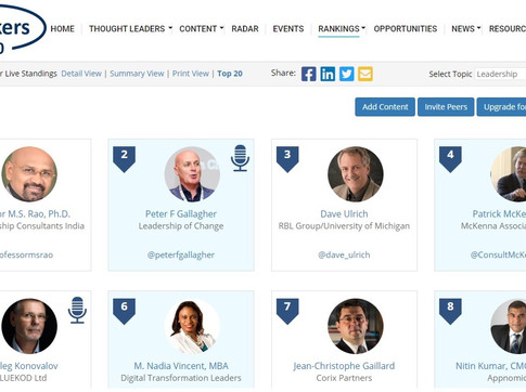 Top 50 Global Thought Leaders and Influencers on Leadership (Aug 2020)