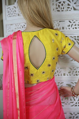 pure chiffon Georgette saree with Lemon Yellow Raw silk designer blouse