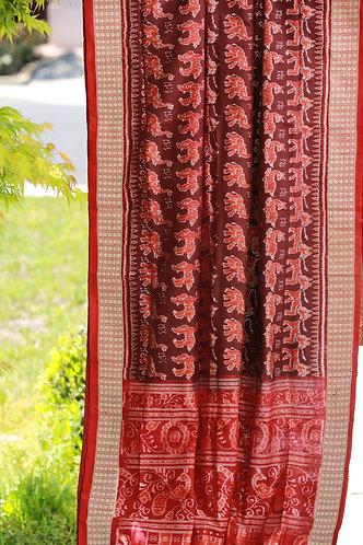 Coffee and maroon bandha work animal motifs Sonepuri silk
