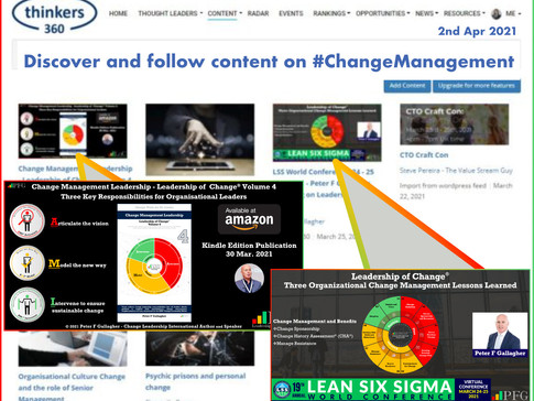 Discover & Follow Content on #ChangeManagement from Peter F Gallagher & Thinkers360 Thought Leaders
