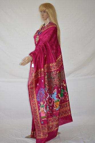 Pattachitra pure silk in Magenta