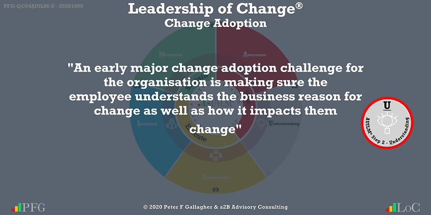 """Change Management Adoption Quotes, Change Management Quotes Peter F Gallagher, """"An early major change adoption challenge for the organisation is making sure the employee understands the business reason for change as well as how it impacts them"""" ~ Peter F Gallagher Change, Peter F Gallagher Change Management Expert Speaker and Global Thought Leader,"""
