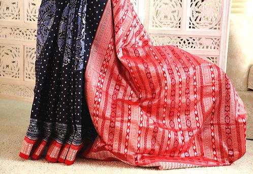 Navy Blue Bandha with Red border Sonepuri traditonal anchal
