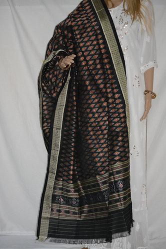 sambalpuri bandha black and rust combination