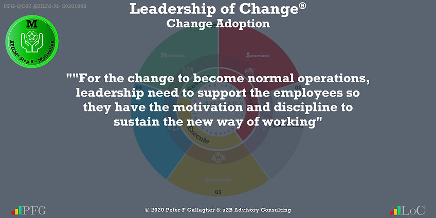 """""""For the change to become normal operations, leadership need to support the employees so they have the motivation and discipline to sustain the new way of working"""" ~ Peter F Gallagher Change, Peter F Gallagher Change Management Expert Speaker and Global Thought Leader,"""