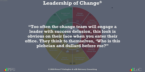 Change Management Quotes, Change Management Quotes Peter F Gallagher, too often the change team will engage a leader with success delusion, this look is obvious on their face when you enter their office. They think to themselves, 'Who is this plebeian and dullard before me? ~ Peter F Gallagher Change, Peter F Gallagher Change Management Expert Speaker and Global Thought Leader,