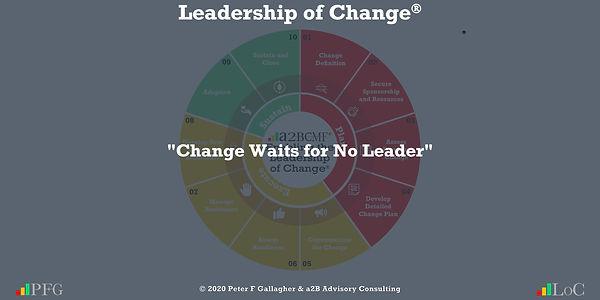 "Change Management Quote ""Change Waits for No Leader"", Peter F Gallagher Change Management Expert Speaker and Global Though Leader, Change Management Quotes, Peter F Gallagher Keynote Speaker, Leadership of Change, #LeadershipOfChange"