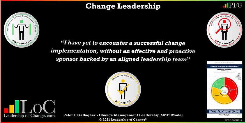 Change Management Leadership Quotes, Change Management Quotes Peter F Gallagher, I have yet to encounter a successful change implementation, without an effective and proactive sponsor backed by an aligned leadership team, change management experts speakers authors global thought leaders, leadership of change, change management quotes, change leadership,