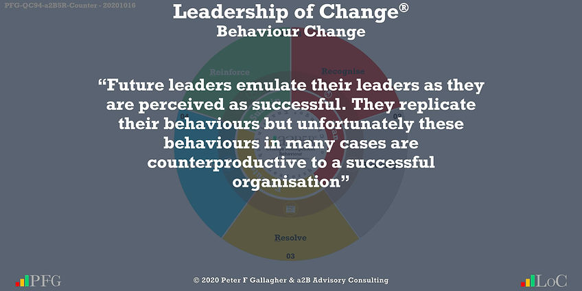 "Change Management Behaviour Quotes, Change Management Quotes Peter F Gallagher, ""Future leaders emulate their leaders as they are perceived as successful. They replicate their behaviours but unfortunately these behaviours in many cases are counterproductive to a successful organisation"" ~ Peter F Gallagher Change, Peter F Gallagher Change Management Expert Speaker and Global Thought Leader,"