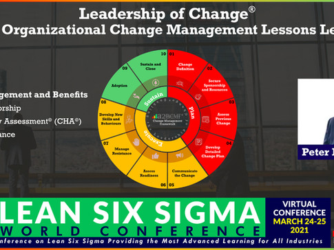 LSS World Conference: 24 - 25 March 2021 - Peter F Gallagher Speaking on Leadership of Change