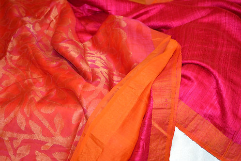 Byloom silk Pink and orange with gold zari