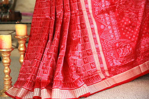 Red and peach Baandha Samablpuri silk