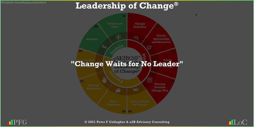 Change Management Quote, Change Management Quotes, Change Waits for No Leader, Peter F Gallagher change management global though leader expert speaker, change management experts speakers global thought leaders, change management handbook, Leadership of Change,