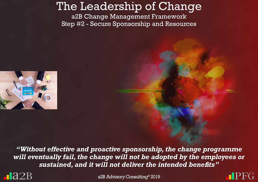"""Change Management, Change Management Sponsorship, Change Management Framework (a2BCMF) – Step 2, """"Without effective and proactive sponsorship, the change programme will eventually fail, the change will not be adopted by the employees or sustained, and it will not deliver the intended benefits"""" ~ Peter F Gallagher Peter, F Gallagher, PeterFGallagher.com, Change Management Model, Peter F Gallagher Speaker, a2B Change Management Framework, a2B AUILM, a2B AUILM Employee adoption model, a2BBIS, a2B5R® Employee Behavioural Model, a2B5R, a2BCMF, a2B AUILM, Peter F Gallagher Author of """"The Leadership of Change"""", The Leadership of Change – volume 1, The Leadership of Change Fables, #LeadershipOfChange, Enabling the leadership of change, a2B Advisory Consulting, www.a2B.consuling, Peter F Gallagher Change Management Expert, Sarah L Gallagher,"""