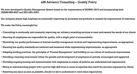 a2B Advisory Consulting, Quality Policy, Peter Gallagher, Sarah Gallagher, Change Management, Change Management Framework, Business and Process Improvement, Portfolio Programme, Project Management, Strategy Execution, a2BCMF, enabling step improvement, [Author: Peter Gallagher]