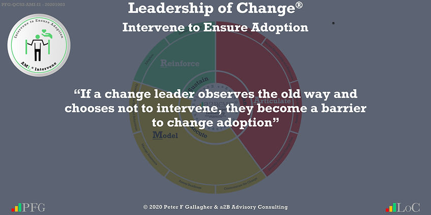 """Change Management Leadership Quotes, Change Management Quotes Peter F Gallagher, """"If a change leader observes the old way and chooses not to intervene, they become a barrier to change adoption"""" ~ Peter F Gallagher Change, Peter F Gallagher Change Management Expert Speaker and Global Thought Leader,"""