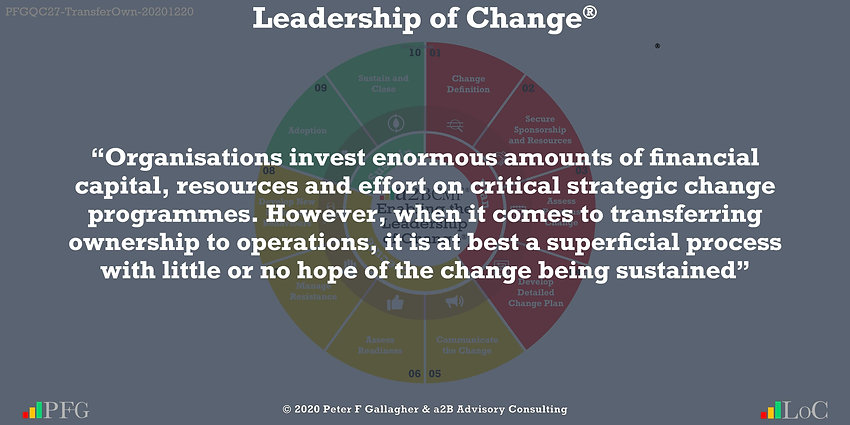 change management quotes, change management quotes peter f gallagher, Organisations invest enormous amounts of financial capital resources and effort on critical strategic change programmes However when it comes to transferring ownership to operations, it is at best a superficial process with little or no hope of the change being sustained, peter f gallagher change management expert speaker and global thought leader,