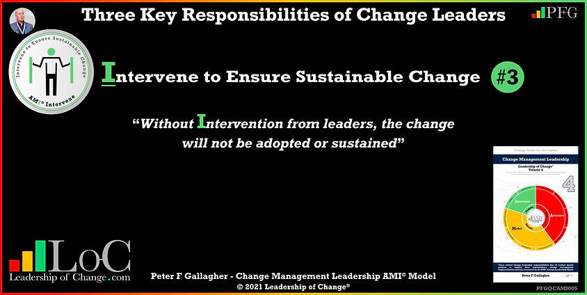 Change Management Leadership Quotes, Change Management Quotes Peter F Gallagher, Intervene to Ensure Sustainable Change, Without Intervention from leaders, the change will not be adopted or sustained, Peter F Gallagher Change Management Expert Speaker and Global Thought Leader, change management experts speakers authors global thought leaders, leadership of change, change management quotes, change leadership,