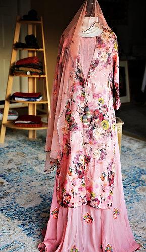 Designer dress in peach Georgette chiffon