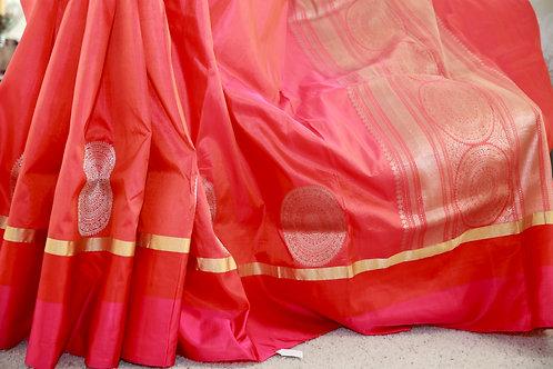 Orange Pink double silk khathan banrasi with khadwa Bootas