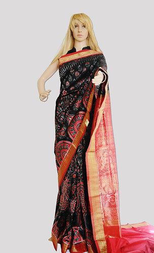Sambalpuri Black and Maroon Bandha Saree with Tissue border and Anchal