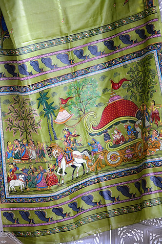 Green pattachitra hand painting on Tussar silk