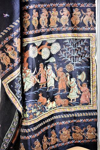 Black Pattachitra hand painting on Tussar silk