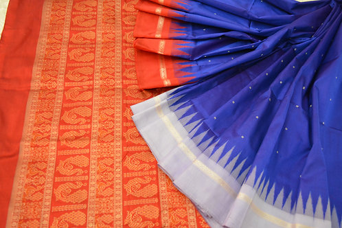 Odisha Sambalpuri Bomkai silk in royal blue with red
