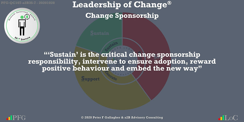 "Change Management Sponsorship, ""'Sustain' is the critical change sponsorship responsibility, intervene to ensure adoption, reward positive behaviour and embed the new way""~ Peter F Gallagher Change, Peter F Gallagher Change Management Expert Speaker and Global Thought Leader,"