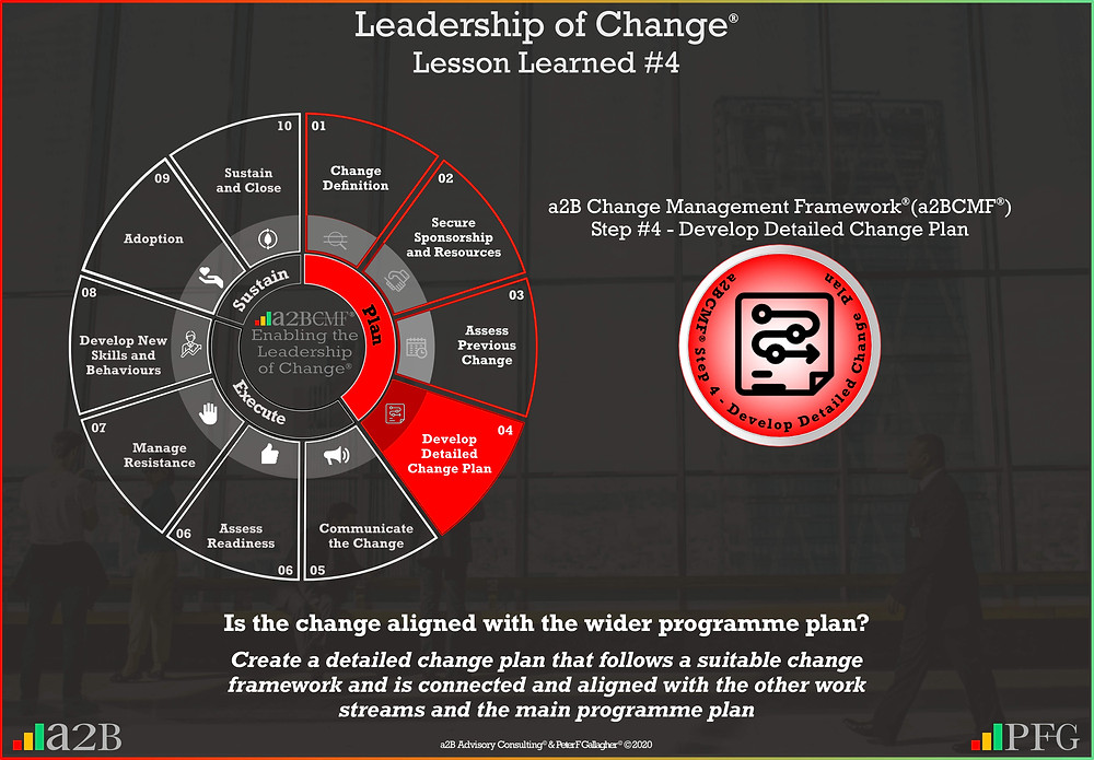 ​ ​​  ​Lesson Learned #4 Leadership of Change, a2B Change Management Framework® (a2BCMF®) Change Management Lesson Learned #4 Is the change aligned with the wider programme plan? Create a detailed change plan that follows a suitable change framework and is connected and aligned with the other work streams and the main programme plan ~ Peter F Gallagher Change Management Expert and Global Thought Leader,