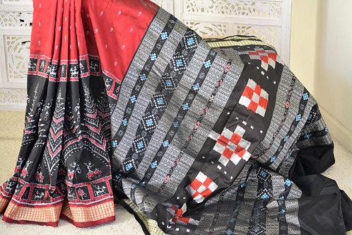 Black and Burgundy half and half Bandha silk