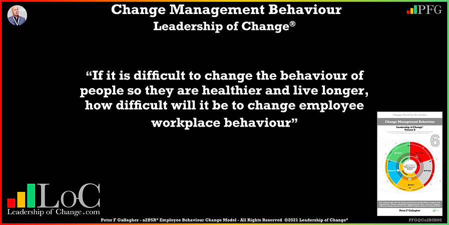 Change Management Behaviour Quotes, Change Management Quotes, Peter F Gallagher If it is difficult to change the behaviour of people so they are healthier and live longer, Peter F Gallagher Change Management Global Thought Leaders, change management behaviour book, Leadership of Change, Employee Behaviour Change, Change Management Expert Speaker thought leader,