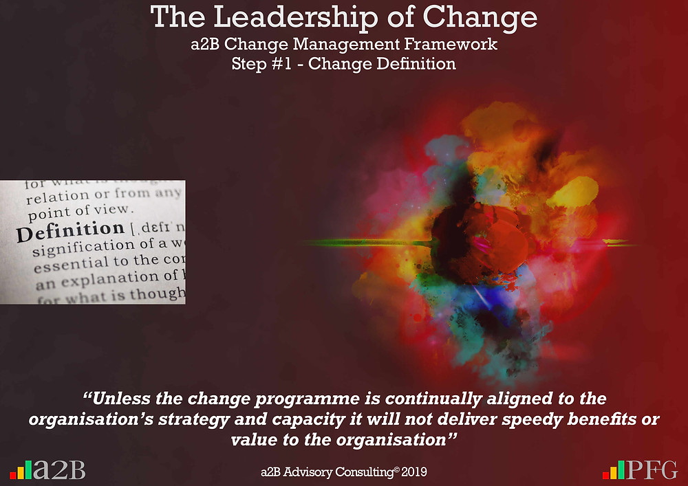 "Change Management, Change Management Definition, Change Management Framework (a2BCMF) – Step 1, ""Unless the change programme is continually aligned to the organisation's strategy and capacity it will not deliver speedy benefits or value to the organisation""  ~ Peter F Gallagher, Peter F Gallagher, PeterFGallagher.com, Change Management Model, Peter F Gallagher Speaker, a2B Change Management Framework, a2B AUILM, a2B AUILM Employee adoption model, a2BBIS, a2B5R® Employee Behavioural Model, a2B5R, a2BCMF, a2B AUILM, Peter F Gallagher Author of ""The Leadership of Change"", The Leadership of Change – volume 1, The Leadership of Change Fables, #LeadershipOfChange, Enabling the leadership of change, a2B Advisory Consulting, www.a2B.consuling, Peter F Gallagher Change Management Expert, Sarah L Gallagher,"