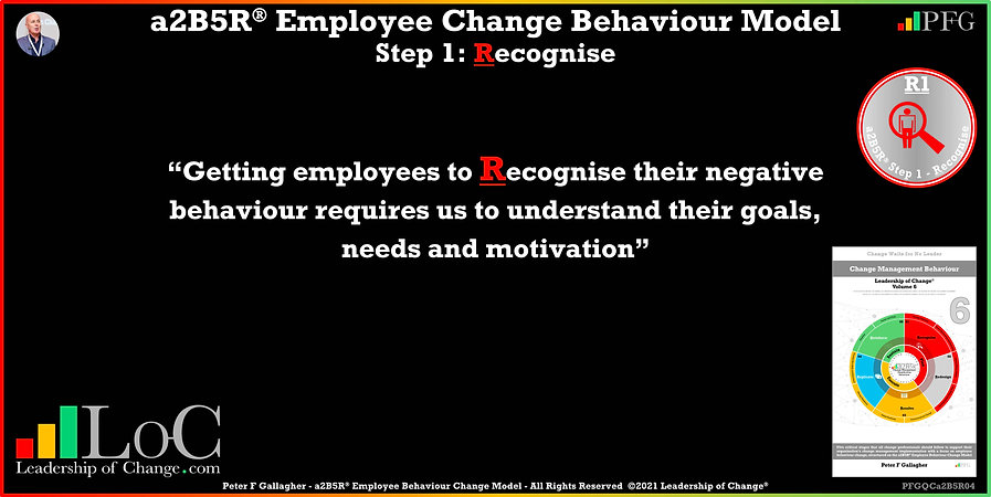 Change Management Behaviour Quotes, Change Management Quotes, Peter F Gallagher, Getting employees to recognise their negative behaviour requires us to understand their goals, needs and motivation, Peter F Gallagher Change Management Speakers, Peter F Gallagher Change Management Global Thought Leaders, change management behaviour book, Leadership of Change, Employee Behaviour Change, Change Management Expert Speaker thought leader,