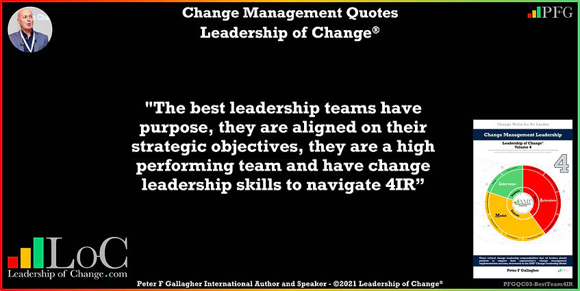 Change Management Quote, Change Management Quotes, the best leadership teams have purpose, they are aligned on their strategic objectives, they are a high performing team and have change leadership skills to navigate 4IR, Peter F Gallagher change management global though leader expert speaker, change management experts speakers global thought leaders, change management handbook, Leadership of Change,