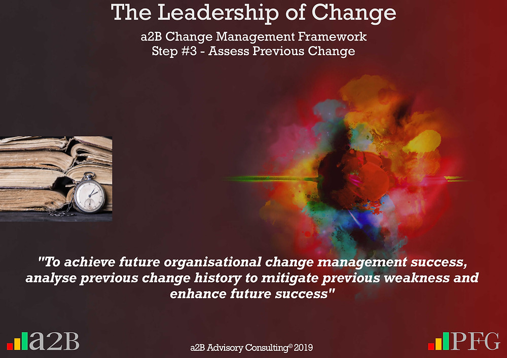 """Change History Assessment, Change Management - Previous History Will Impact Future Success, """"If an organisation has a history of change failure, future success will require a different approach"""" ~ Peter F Gallagher, """"To achieve future organisational change management success, analyse previous change history to mitigate previous weakness and enhance future success"""" ~ Peter F Gallagher, Peter F Gallagher Change Management Expert, Peter F Gallagher Change Management Keynote Speaker a2B AUILM Employee adoption model, a2B5R® Employee Behavioural Model, a2BCMF, Peter F Gallagher Author of """"The Leadership of Change"""", The Leadership of Change volume 1 Fables, #LeadershipOfChange, enablingtheleadershipofchange.com, a2B Advisory Consulting, www.a2B.consulting, Peter F Gallagher, PeterFGallagher.com, PFG Speaks,"""