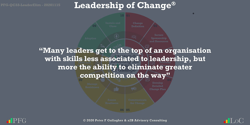 "Change Management Quotes, Change Management Quotes Peter F Gallagher, ""Many leaders get to the top of an organisation with skills less associated to leadership, but more the ability to eliminate greater competition on the way"" ~ Peter F Gallagher Change, Peter F Gallagher Change Management Expert Speaker and Global Thought Leader,"