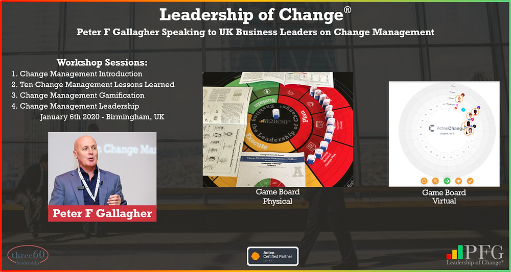 Peter F Gallagher speaking three60 leadership jan 2021, ten change management lessons learned leaders should know, peter f gallagher change management expert speaker global thought leader, change management experts speakers global thought leaders, change management leadership, effective change manager handbook, change management handbook, change leadership alignment,