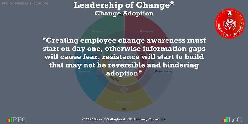 """Change Management Adoption Quotes, Change Management Quotes Peter F Gallagher, """"Creating employee change awareness must start on day one, otherwise information gaps will cause fear, resistance will start to build that may not be reversible and hindering adoption"""" ~ Peter F Gallagher Change, Peter F Gallagher Change Management Expert Speaker and Global Thought Leader,"""