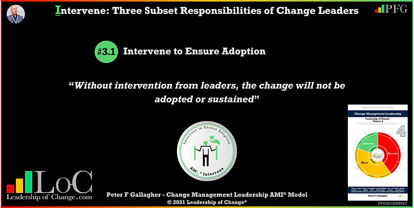 Change Management Leadership Quotes, Change Management Quotes Peter F Gallagher, Intervene to Ensure Adoption, without intervention from leaders, the change will not be adopted or sustained, change management experts speakers authors global thought leaders, leadership of change, change management quotes, change leadership,