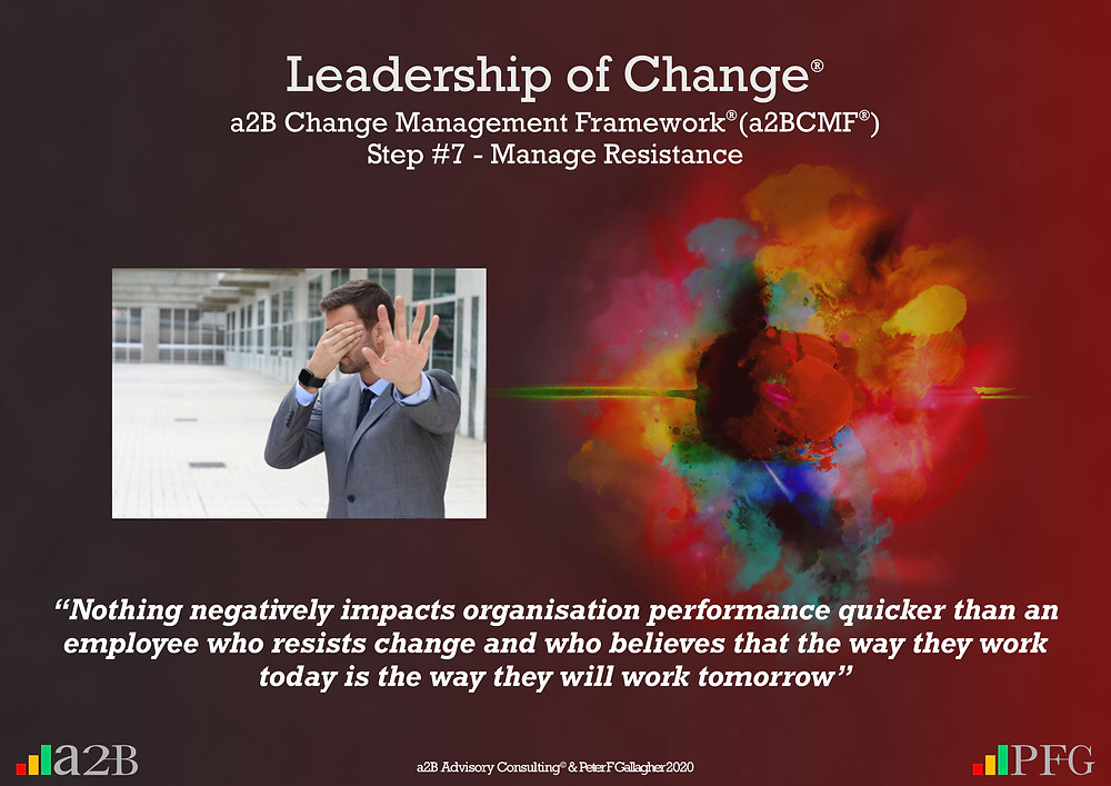 "Change Management Framework® (a2BCMF®) – Step 7 Manage Resistance ""Nothing negatively impacts organisation performance quicker than an employee who resists change and who believes that the way they work today is the way they will work tomorrow"" Peter F Gallagher Change Management Expert"