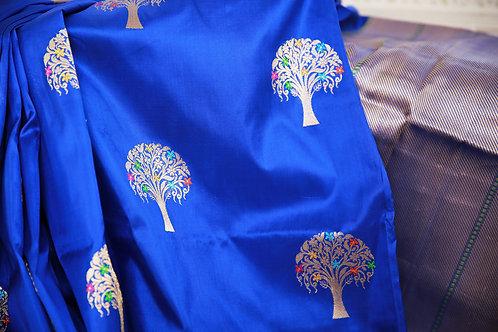 Royal Blue banarasi Hand-loom silk pure katan