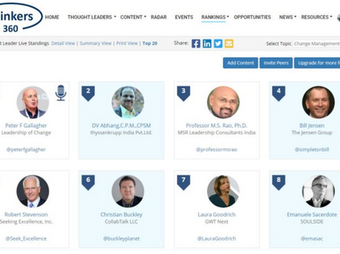 #1 Global Thought Leaders and Influencers on Change Management (2nd Oct 2020)