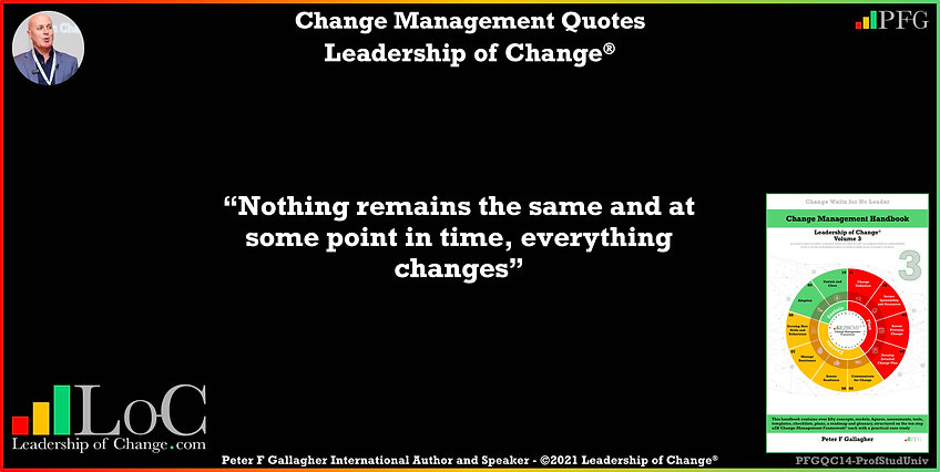 Change Management Quote, Change Management Quotes Peter F Gallagher, Nothing remains the same and at some point in time everything changes, Change Management Quote, Peter F Gallagher Change Management Expert Speaker Global Thought Leader, leadership of change, change management handbook, Change Management Quote of the day, Change Management Experts Speakers Global Thought Leaders,