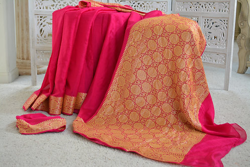 Wood Rose Pink Banarasi chiffon with soft zari border and Anchal