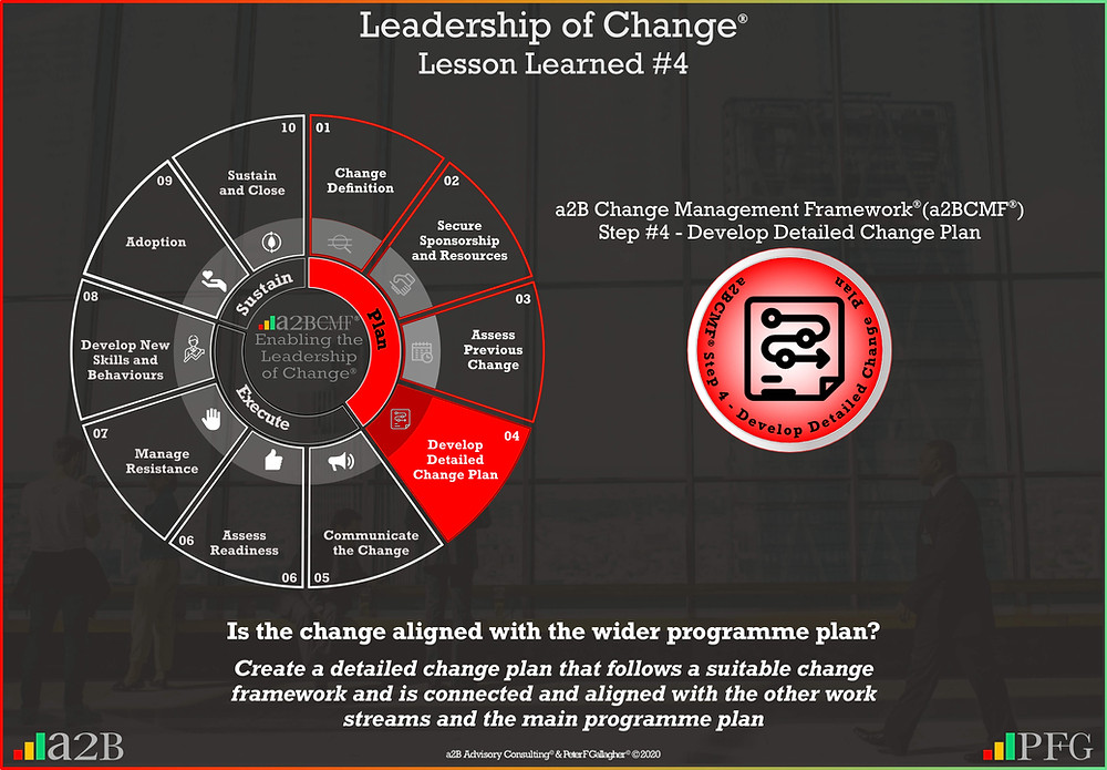 Lesson Learned #4 Leadership of Change, a2B Change Management Framework® (a2BCMF®) Change Management Lesson Learned #4 Is the change aligned with the wider programme plan? Create a detailed change plan that follows a suitable change framework and is connected and aligned with the other work streams and the main programme plan ~ Peter F Gallagher Change Management Expert and Global Thought Leader,