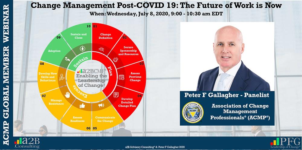 ACMP GLOBAL Webinar Change Management Post-COVID 19: The Future of Work is Now - Peter F Gallagher Change Management Global Thought Leader, Change Management Expert, International Corporate Keynote Speaker, Leadership of Change, Change Management Author, Leadership Alignment Coach, Peter F Gallagher Ranked #1 Global Thought Leaders Change Management (May 2020) Thinkers360,
